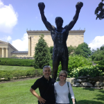 Carolyn and Cousin Luigi at Rocky Statue