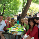 Cousins from three continents eating Alfresco at Miele National Forest, Abruzzo, Italy